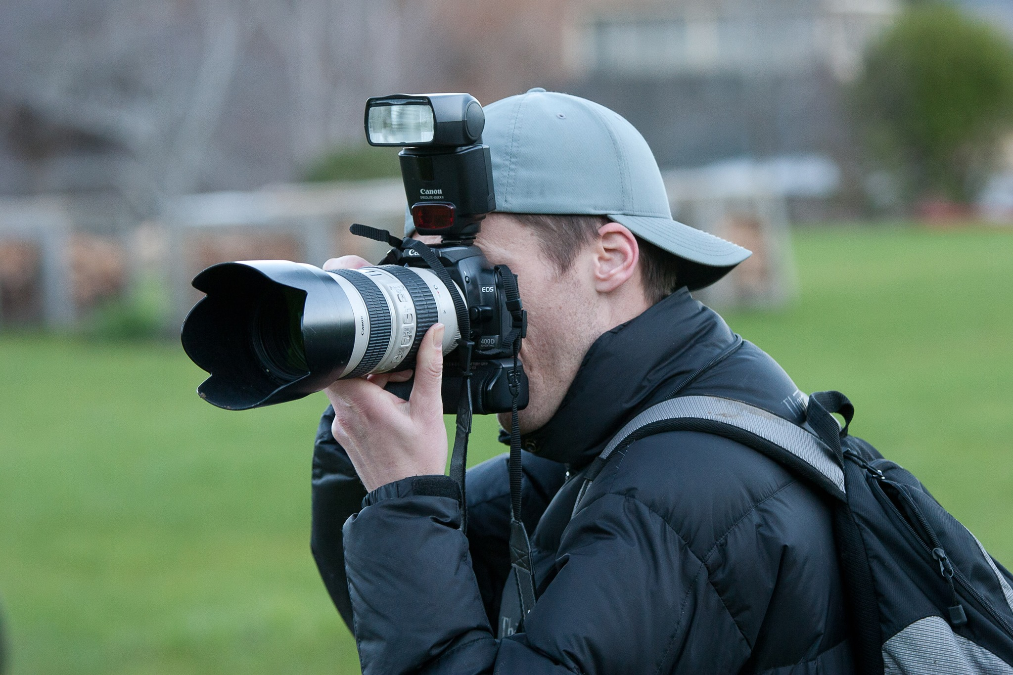 Me working as a photographer at a local cycling race. A photograpjh of a photographer ;)