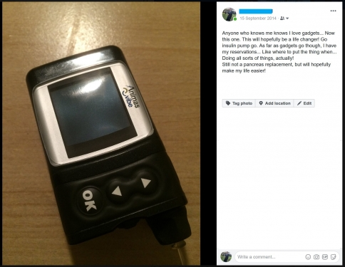 A post I wrote on Facebook. I knew using an insulin pump would be good, but I had my reservations!